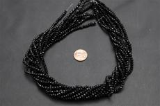 Beads,  Crystal Round 3mm 18 in. long strand Black in color