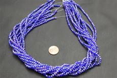 Beads,  Crystal Round 3mm 18 in. long strand  blue in color