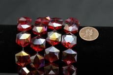 Beads,  Crystal octagon shape. 7 1/2 in. long strand 14mm octagon 8.4 mm thick. red in color