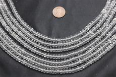 "Beads, Crystal  6mm diameter 4mm height 16"" long strand. 1 strand"