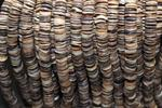 "Heishi cut shell beads  15""long strand 9 mm diameter 2mm thick"