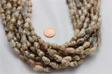 "Feldspar beads. round teardrop 13.5 mm high 8.3mm in diameter. 15 1/2"" long strands"