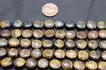 "Beads,  Tiger's Eye Bead Strand/15"" long/6.2mm diameter/2.5mm thick"