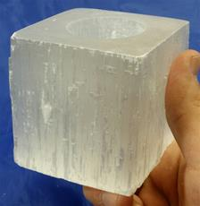 Selenite Candle Holder, Box Cut