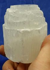 Selenite Candle Holder, Natural Cut